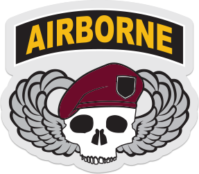 airborne skull wings sticker